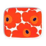Oiva - Unikko lautanen 15 x 12 cm, valk. - punainen - sininen