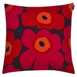 Pieni Unikko cushion cover, red-orange-plum
