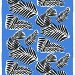 Babassu fabric, blue - black - off white