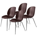 Gubi Beetle chair, dark pink - black chrome, set of 4