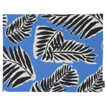 Babassu coated cotton placemat, blue - black - off white