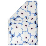 Unikko duvet cover 150 x 210 cm, light blue - off white - plum