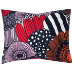 Siirtolapuutarha pillowcase , white-red-dark blue