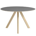 Hay CPH20 round table 120 cm, matt lacquered oak - grey lino, PU lac