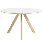CPH20 round table 120 cm, matt lacquered oak - white laminate