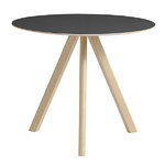 CPH20 round table 90 cm, matt lacquered oak - black lino