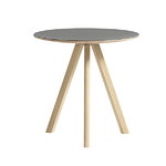CPH20 round table 50 cm, matt lacquered oak - grey lino