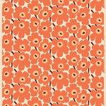 Marimekko Pieni Unikko fabric, cotton - orange - burgundy