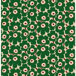 Pieni Unikko coated fabric, beige - green - peach