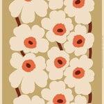 Marimekko Unikko cotton/hemp fabric, beige - orange