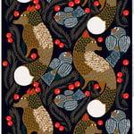 Ketunmarja pinnoitettu puuvillakangas, tummansininen-ruskea