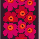 Unikko fabric, red-orange-plum
