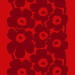 Unikko fabric, red - dark red