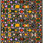 Talvipalatsi fabric, black-yellow-green-purple