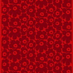 Pieni Unikko coated fabric, red - dark red