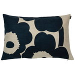 Unikko cushion cover 40 x 60 cm, light linen - dark blue