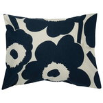 Unikko pillow case, cotton - dark blue