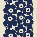Unikko linen fabric, linen - dark blue