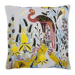Crane cushion cover, linen-cotton, grey