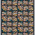 Suovilla cotton-linen fabric, black - peach