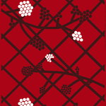 Hortensie fabric, red-plum-white