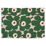 Pieni Unikko tea towel, 2 pcs, beige - green - peach