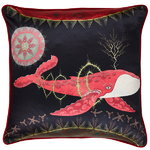 Cosmic Whale with Red Planet cushion cover, silk