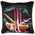 Pheasants and Rhubarbs cushion cover, silk