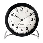AJ Station table clock, black/white, alarm