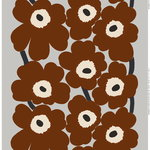 Unikko heavyweight cotton fabric, light grey - brown - dark blue
