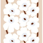 Unikko  linen fabric, beige - white - brown