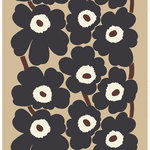 Unikko heavyweight cotton fabric, beige - dark grey - brown