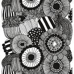 Marimekko Siirtolapuutarha kangas, musta-valkoinen