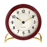 AJ Station table clock with alarm, bordeaux