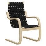 Aalto armchair 406, birch - black webbing
