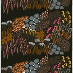 Letto fabric, dark green-brown-peach