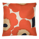 Unikko tyynynpäällinen 50 x 50 cm, beige-oranssi-t.sininen