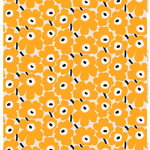 Pieni Unikko fabric, beige-yellow-dark blue