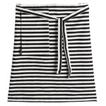 Tasaraita half apron, off white - black