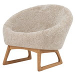 Tub lounge chair, Moonlight sheepskin - oiled oak