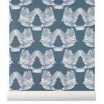 Birds wallpaper, dark green - off white