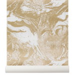 Marbling wallpaper, gold