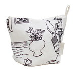 Mielenmaisemia cosmetics bag, white - black