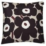 Pieni Unikko cushion cover 45x45 cm, beige - dark grey - brown