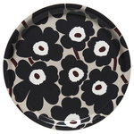 Pieni Unikko tray, beige - dark grey - brown