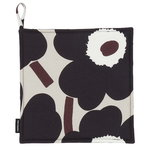 Pieni Unikko pot holder, beige - dark grey - brown