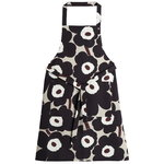 Pieni Unikko apron, beige - dark grey - brown