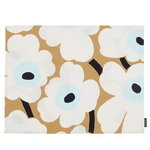 Marimekko Pieni Unikko coated cotton placemat, beige-off white-blue