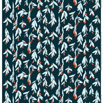 Pieni Hyhmä coated cotton fabric, dark blue - red - blue