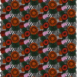 Pieni Siirtolapuutarha fabric, orange - green